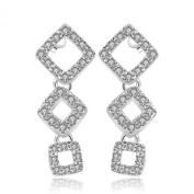 Dawanza - Charm Gift for Women - Earrings for Women Hollow Out Square Pendant with Shiny White Crystal - Elegant Jewellery Silver Plated