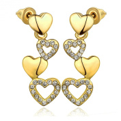 Dawanza - Fashion Earrings for Women - Four Hearts - Elegant Jewellery Gold Plated White Crystal