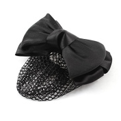 FOREVER YUNG Ladies Two Layers Bowknot Decor Black Bun Cover Net Hair Clip Barrette