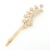 FOREVER YUNG Beads Embellished Crown Hair Barrette Bar Metal Bobby Pin Clip for Ladies