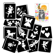 24 FAIRY themed Girls Glitter Tattoo Body Art Stencil pack