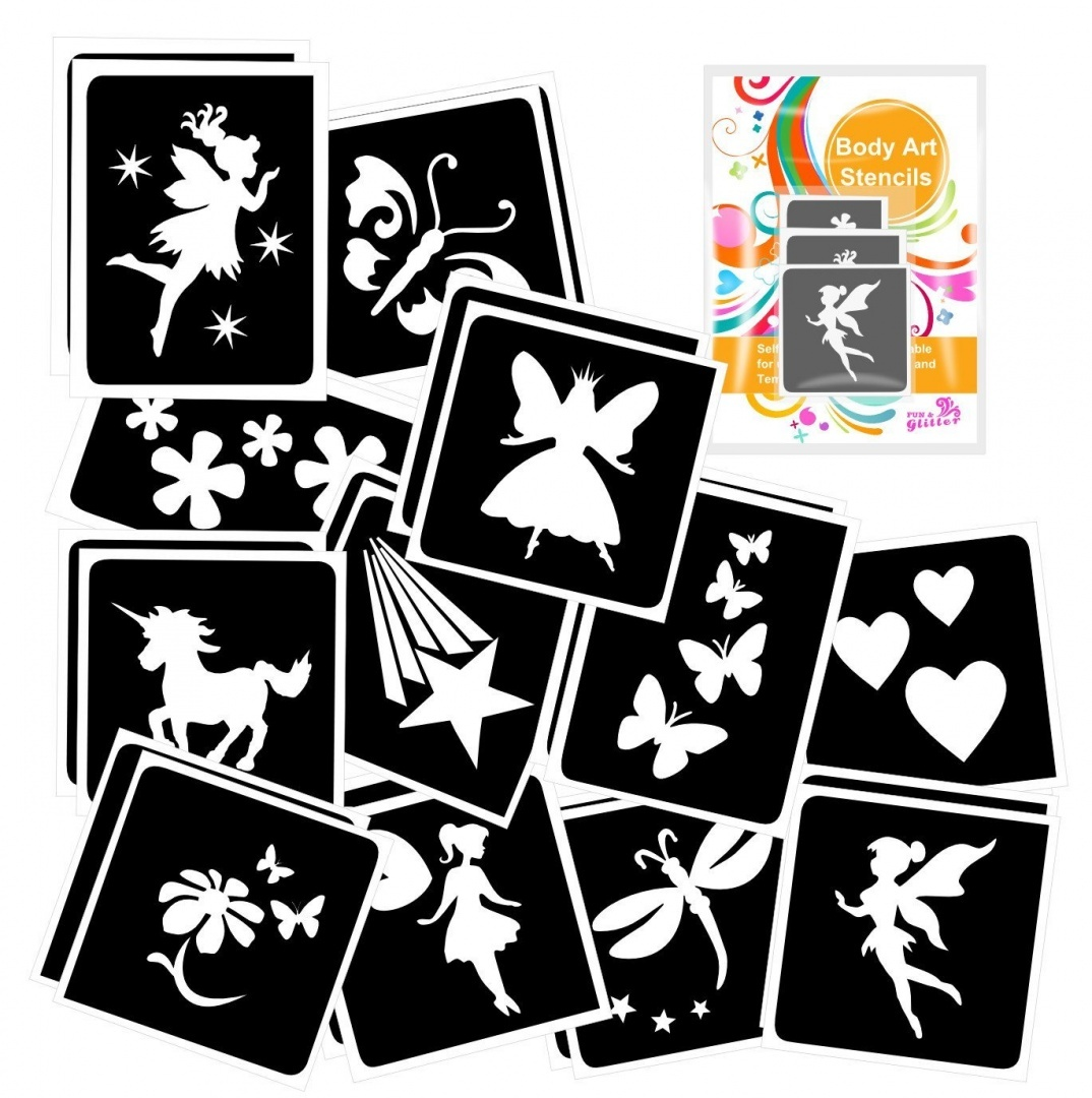 24 FAIRY Themed Girls Glitter Tattoo Body Art Stencil Pack By Fun And