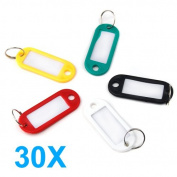 Veroda Coloured Plastic Key Name Cards Fobs Luggage ID Tags Labels Key rings