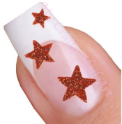 Red Glitter Star Adhesive Nail Stickers Art