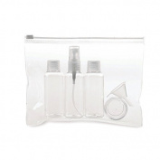 Travel Bottles & Case Flight Set - Holiday Cosmetic Wash Bag Bottle Hand Luggage