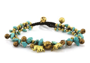 MGD, Blue Turquoise Colour Bead and Brass Bell Anklet, Handmade Brass Elephant Anklet, Fashion Jewellery For Women, Teens and Girls, JB-0200A