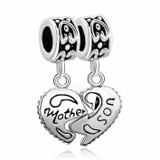 Pugster Heart Mother Daughter Love Family Charms Sale Silver Plated For Pandora/Troll/Chamilia Beads Bracelet