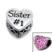 "Silvadore - Silver Bead - ""Sister #2.5cm Engraved Number One Best Heart Plaque Mini Cut Crystal CZ Pink Rose Back - 925 Sterling Charm 3D Slide On 599 - Fits Pandora European Bracelet."
