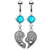 Gekko Body Jewellery Pair of Vintage Style Best Friends Heart Belly Bars with Aqua CZ Gem