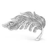 Bling Jewellery Crystal Nature Leaf Brooch Pin Silver Plated