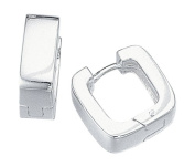 Elements Sterling Silver Ladies' E750 Plain Huggie Earrings