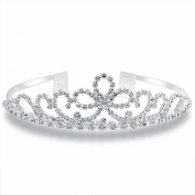 Bling Jewellery Royal Wedding Inspired Bow Rhinestone Tiara Bridal Crown Headpiece Silver Plated