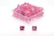 Birth Stone Jewels 5mm Pink Sapphire Princess Cut Cubic Zirconia Gem Stones Pack Of 2