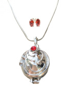 TV Inspired Vampire Antique Silver Opening Locket and Sterling Silver 4mm Earrings