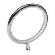 Swish Elements 28mm Metal Curtain Pole Rings, Satin Steel, 4 Pack
