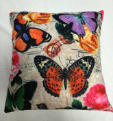 "RAYYAN LINEN'S BUTTERFLY PURPLE PRINTED CUSHION COVER OR PILLOWCASES (PURPLE ORANGE PINK BLACK GREY GREEN) 18 X 18"" OR 45 X 45 CM APPROX."