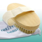 "TRAVEL BRUSH SET for Skin Cleansing - Natural Bristle Body Brush with Soft Grip Handle & Pouch for Portable Skincare on ""The Go"" 