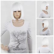 """eNilecor Short Hair Wig 14"""" 36cm Straight Flat Bang Short Bob Hair Candy Colour Cosplay Wigs Natural As Real Hair+ Free Wig Cap"""