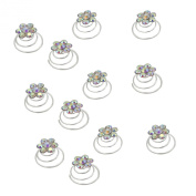 Newstarfactory Rhinestone Studded Collection Flower Spiral Hair Pin Pack of 12
