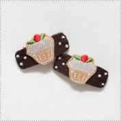 Best of Chums Baby Hair Accessories - Cupcake Felt Applique Hair Clip