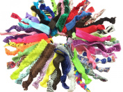 PEPPERLONELY Brand 50PC Printed And Solid Mixed No Crease Hair Ties