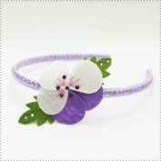Best of Chums Hair Accessories Violet Dotted Head Band With Felt Flower