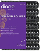 Diane Black Snap On Rollers - 1.3cm 14-Pack, SNAP-ON ROLLERS 14-CT 1.3cm BLACK, Made From the Highest Quality and Strong Non-Breakable Material, Holds and Locks Curls in place, no pins or clips needed.