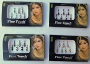Lightahead® 4 PACK SILVER,GOLD ,MAROON, MULTI colour LONG SIZE BOLLYWOOD HEAD BINDI TATTOO INDIAN ART RHINESTONE STICK ON REUSEABLE