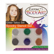 """Glitter Tattoo Kit by Custom Body Art® 6 Colour """"Spooky"""" Glitter & Body Art Set with 6 Large Glitter Colours, 10 Spooky Themed Temporary Tattoo Stencils, Glue & Brushes. The Perfect Kit for Fashionable Party Fun for Children, Teenagers & Adults."""
