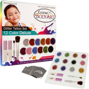 "Glitter Tattoo Kit by Custom Body Art® 12 Colour ""Deluxe"" Glitter & Body Art Set with 12 Large Glitter Colours, 30 Uniquely Themed Temporary Tattoo Stencils, 2 Glue Applicator Bottles & 2 Glitter Brushes. The Perfect Kit for Fashionable Party Fun for  .."