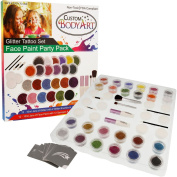 "The Glitter Tattoo Set by Custom Body Art® 24 Colour ""Ultimate"" Glitter & Face Painting Set. A Jumbo Party Pack & Body Art Set with 12 Large Glitter Colours, 30 Uniquely Themed Temporary Tattoo Stencils, 2 Glue Applicator Bottles & 2 Glitter Brushes.  .."