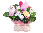 Baby Girl Bouquet Made Out Of Baby Clothes And Accessories, Baby Planter / Baby Shower Decoration And Centrepiece / Unique Gift / Comes With FREE GIFT