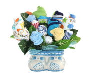 Baby Boy Bouquet Made Out Of Baby Clothes And Accessories, Baby Planter / Baby Shower Decoration And Centrepiece / Unique Gift / Comes With FREE GIFT
