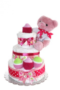 3 Tier Nappy Cake/ Blue Or Pink Teddy Bear Nappy Cake For Girl Or Boy / Unique Gift For Baby Shower / FREE GIFT with purchase