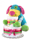 Rainbow Puppy Unique Nappy Cake For Girl Or For Boy/ 2 Tier Nappy cake/ Newborn Gift for Baby shower