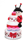 LadyBug 3 Tier Nappy Cake / Centre Piece For Baby Shower / Newborn. GIFT with purchase