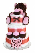 Newborn Nappy Cake 3 Tier- Brown Teddy Bear Classic Nappy Cake/ Baby Boy Gift, Baby Girl Gift / FREE GIFT with purchase