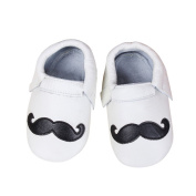 Baby Moccasins with Moustache Design for Boy Girl Infant Toddler (12-18 month