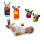 • 1 Pairs(4pcs) Animal Baby hands & foot ring Infant Kids Sock Rattles Developmental Toys Soft and lovely Boy & Girl's wrist strap