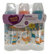 Parent's Choice Bottles, 3-Pack, 270ml, Slow Flow, For 0+ Months Orange and Blue