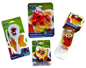 Elmo Baby Bottle, Pacifier Holder, Water-filled Teether Toy, Hair Brush and Comb Set, Sesame Beginnings 4-PC Bundle Set