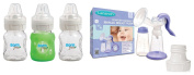Lansinoh Comfort Express Manual Breast Pump with Born Free Adapter & Bottles