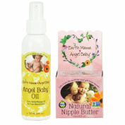 Earth Mama Angel Baby Natural Nipple Butter, 60ml Jar PLUS Angel Baby Oil, 120ml