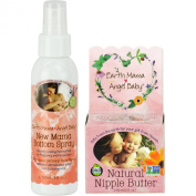 Earth Mama Angel Baby Natural Nipple Butter, 60ml Jar PLUS New Mama Bottom Spray - 120ml