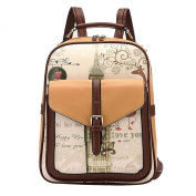 Sugawin Unisex Vintage Print Pattern Student Backpack Schoolbags Handbag Travel - Khaki