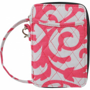Coral Damask Print Quilted Wristlet Wallet