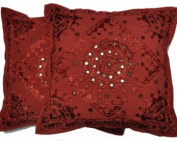 Indian Traditional Handmade Decorative Cushion Covers,Boho Pillow Cushion Cover,Cotton Home Decor Cushion Pillow Cover 16x16, 2Lot