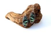 Real Butterfly Wing Earrings in Sterling Silver - Green Sunset Moth