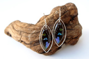 Real Butterfly Wing Earrings in Sterling Silver - Graphium Weiskei