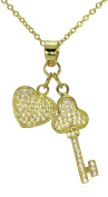 Key To My Heart Pave CZ Double Charm Pendant Necklace .925 Sterling Silver 41cm - 43cm - 46cm Gold Tone